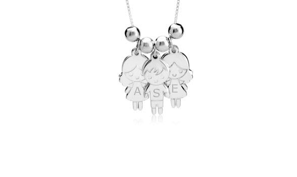Mother's Necklace with Boy & Girls Charms