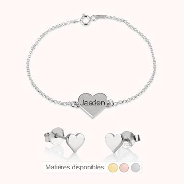 Parure Bracelet et Boucles d'Oreilles Cœur