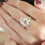 Interlocking Monogram Ring -                          	How it looks in reality - Thumbnail - 2