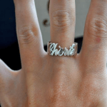 Cursive Name Ring -                          	How it looks in reality - Thumbnail - 4