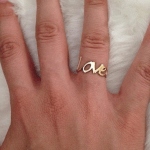 Love Ring in Cursive -                          	How it looks in reality - Thumbnail - 2