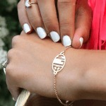 Block Letter Cut Out Monogram Bracelet -                          	How it looks in reality - Thumbnail - 0