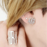 Monogrammed Earrings Studs -                          	How it looks in reality - Thumbnail - 1