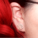 Monogrammed Earrings Studs -                          	How it looks in reality - Thumbnail - 2