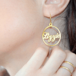 Name Hoop Earrings -                          	How it looks in reality - Thumbnail - 1