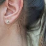 Letter Stud Earrings -                          How it looks in reality - Thumbnail - 1