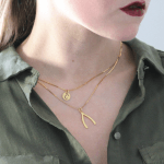 Initial Wishbone Layered Necklace -                          	How it looks in reality - Thumbnail - 6