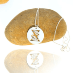 Script Initial Disc Necklace -                          	How it looks in reality - Thumbnail - 1