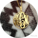 Circle Monogram Necklace -                          	How it looks in reality - Thumbnail - 5