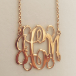 Monogram Initial Necklace -                          	How it looks in reality - Thumbnail - 2