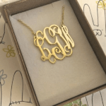 Monogram Initial Necklace -                          How it looks in reality - Thumbnail - 9