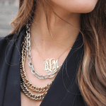 Monogram Initial Necklace -                          How it looks in reality - Thumbnail - 5