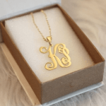 Two Letter Monogram Necklace -                          	How it looks in reality - Thumbnail - 2