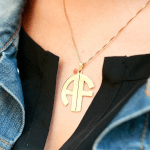 Block Letters Monogram Necklace -                          	How it looks in reality - Thumbnail - 8
