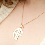 Block Letters Monogram Necklace -                          	How it looks in reality - Thumbnail - 1