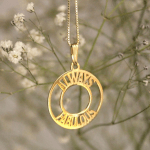 Circle Two Name Necklace -                          	How it looks in reality - Thumbnail - 0