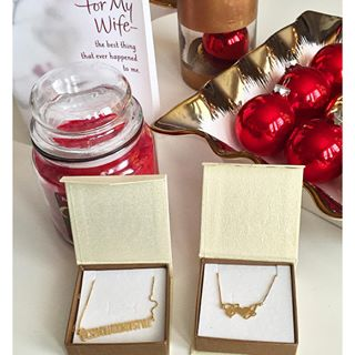 24K Gold Plated Initials Necklace with Heart -                          	How it looks in reality - Thumbnail - 1