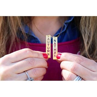 24K Gold Plated Vertical Bar Necklace with Two Names -                          	How it looks in reality - Thumbnail - 1
