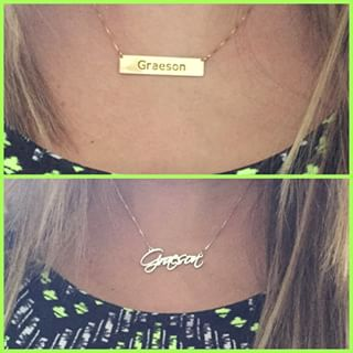 24K Gold Plated Script Name Necklace -                          	How it looks in reality - Thumbnail - 9