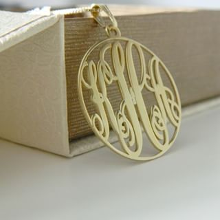 24k Gold Plated Circle Monogram Necklace -                          	How it looks in reality - Thumbnail - 3