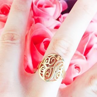 24K Gold Plated Framed Monogram Ring -                          How it looks in reality - Thumbnail - 0