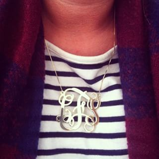 Sterling Silver Curly Split Chain Monogram Necklace -                          	How it looks in reality - Thumbnail - 2