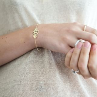 24k Gold Plated Monogram Bracelet -                          	How it looks in reality - Thumbnail - 0