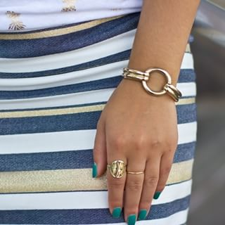 24K Gold Plated Framed Monogram Ring -                          How it looks in reality - Thumbnail - 1