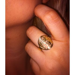 24K Gold Plated Framed Monogram Ring -                          How it looks in reality - Thumbnail - 9
