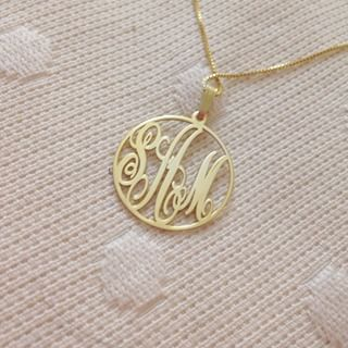 24k Gold Plated Circle Monogram Necklace -                          	How it looks in reality - Thumbnail - 0