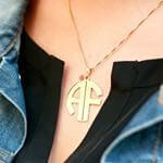 24k Gold Plated 2 Letters Capital Monogram Necklace - How it looks in reality - Thumbnail - 13