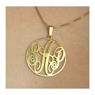 24k Gold Plated Circle Monogram Necklace -                          	How it looks in reality - Thumbnail - 1