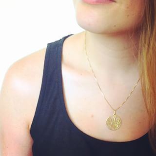 24k Gold Plated Circle Monogram Necklace -                          	How it looks in reality - Thumbnail - 4