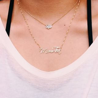 24K Gold Plated Script Name Necklace -                          	How it looks in reality - Thumbnail - 1