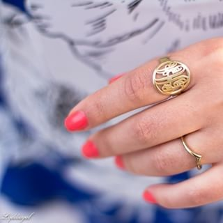 24K Gold Plated Framed Monogram Ring -                          How it looks in reality - Thumbnail - 3