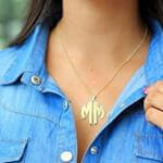 24k Gold Plated 2 Letters Capital Monogram Necklace - How it looks in reality - Thumbnail - 15