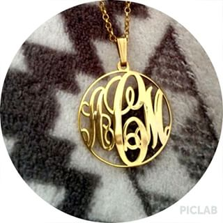 24k Gold Plated Circle Monogram Necklace -                          	How it looks in reality - Thumbnail - 10