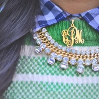 24k Gold Plated Monogram Necklace -                          	How it looks in reality - Thumbnail - 7