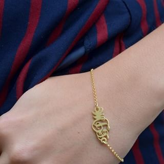 24k Gold Plated Monogram Bracelet -                          	How it looks in reality - Thumbnail - 2