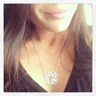 Sterling Silver Curly Split Chain Monogram Necklace -                          	How it looks in reality - Thumbnail - 4