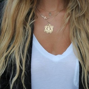 24k Gold Plated Monogram Necklace -                          	How it looks in reality - Thumbnail - 8