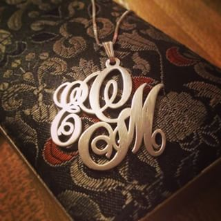 Sterling Silver Monogram Necklace -                          	How it looks in reality - Thumbnail - 2