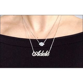 Silver Classic Name Necklace -                          	How it looks in reality - Thumbnail - 17