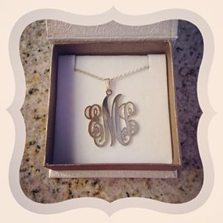 Sterling Silver Monogram Necklace -                          	How it looks in reality - Thumbnail - 5