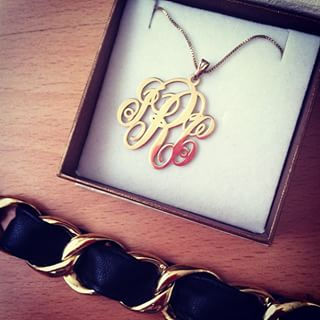 Collier Monogramme en Plaqué Or -                          	How it looks in reality - Thumbnail - 14