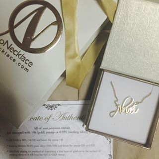 24K Gold Plated Script Name Necklace -                          	How it looks in reality - Thumbnail - 6