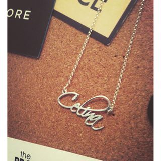 Sterling Silver Script Name Necklace -                          	How it looks in reality - Thumbnail - 4