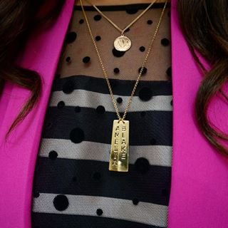 24K Gold Plated Vertical Bar Necklace with Two Names -                          	How it looks in reality - Thumbnail - 6