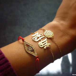 24k Gold Plated Monogram Bracelet -                          	How it looks in reality - Thumbnail - 5