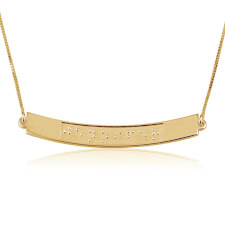 Curved Bar Braille Necklace in Gold Plating